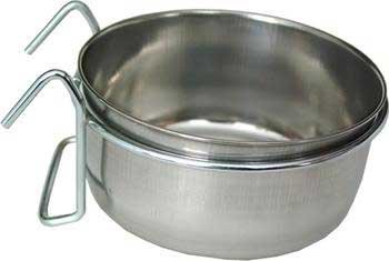 Cheap 10 Oz Coop Cup W/ Wire Hanger (Catalog Category: Bird / Bird Cups-metal) (BLV4225)