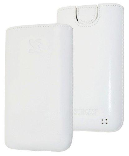 Original Suncase Tasche fuer / Alcatel One Touch 992D (Dual-Sim) / Leder Etui Handytasche Ledertasche Schutzhuelle Case Huelle - Lasche mit Rueckzugfunktion* In Weiss