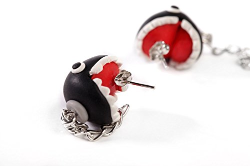YUONUO Super Mario Handcraft Piranha Black Ball Biting You Ears Handmade Personality Creative Earring