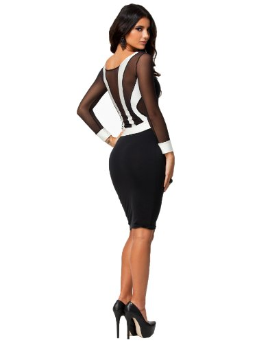 made2envy Sheer Mesh Back Long Sleeves White Cuffs Bodycon (S, Black) 7720-S