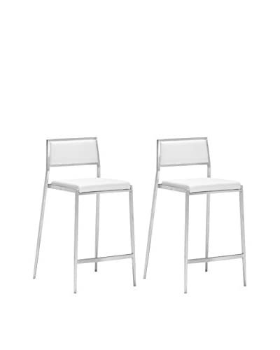 Zuo Modern Dolemite Set of 2 Modern Counter Chairs  [White]