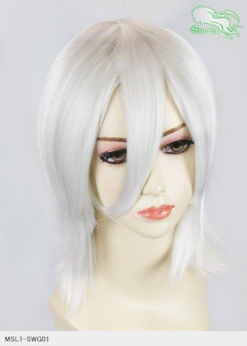 スキップウィッグ 魅せる シャープ 小顔に特化したコスプレアレンジウィッグ シャイニーミディ エンジェルホワイト