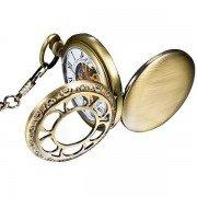 Vintage Bronze Copper Flower Face Double Hunter Skeleton Men Women Mechanical Pocket Watch + Chain