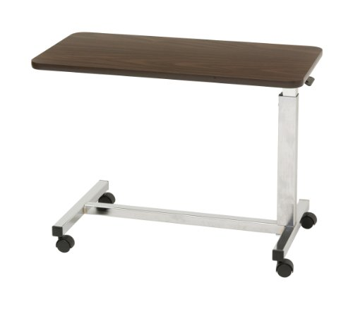 Drive Medical Low Height Overbed Table, Walnut front-922024