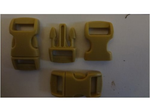 Pack of 25. 3/8 Contoured Colored Side Release Buckles. Click Here to Select From 22 Colors. Free Paracord Zipper Pull with Every Order. By Bostonred2010 (DESERT TAN)