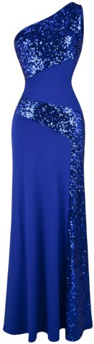 Angel-fashions Women's One Shoulder Sleeveless Sequin Maxi Prom Dresses Medium Blue