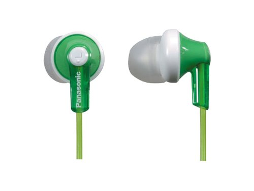 Panasonic ErgoFit In-Ear Earbud Headphones RP-HJE120-G (Green) Dynamic Crystal Clear Sound, Ergonomic Comfort-Fit