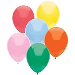 100 Party Balloons - 11 Round Latex, Assortment of Solid Standard Colors - Deep Jade, Real Pink, Br
