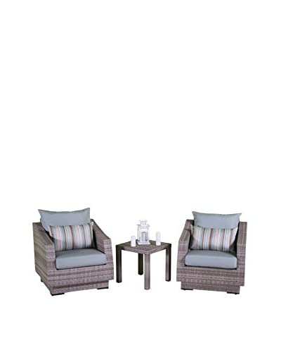 RST Brands Cannes Club Chairs & Side Table Set, Blue