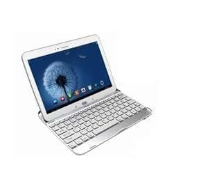 "AZERTY(version française) Coque clavier bluetooth en aluminium spécialement conçu Samsung galaxy tab/Galaxy tab2 10,1"" P5100/P5110/P7500/P7510 (BLANC)"