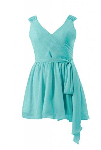 Daisyformals V-Neckline Chiffon Mini Skirt Bridesmaid Dress(Bm1662Rg)- Tiffany Blue