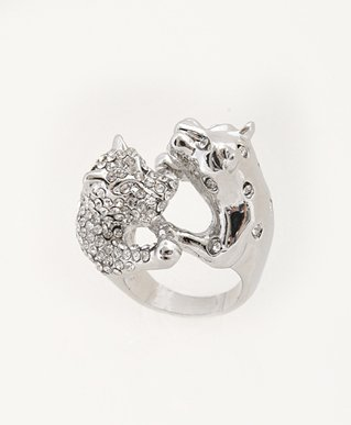 Animal Animal CZ Rhodium plated Duo Cat Faced Ring, Size 6