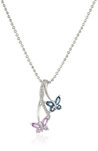 Sterling Silver Blue Topaz, Pink Sapphire and Diamond Double Butterfly Pendant Necklace, 18""