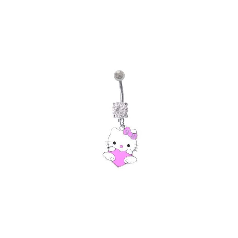 Cz Heart Hello Kitty Dangle Belly Button Navel Ring 14 Gauge Jewelry