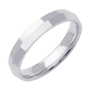 14K White Gold Traditional Knife Edge Women'S Wedding Band (4Mm) Size-4.5