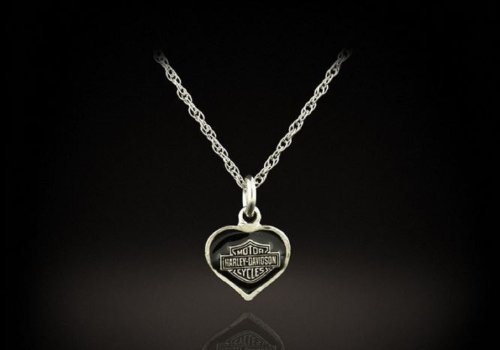 Harley-Davidson® Stamper® Women's Sterling Silver Heart Necklace. HN7049