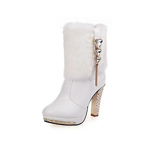 URUOI Women's Elegent High Heels Mid Calf Boots Faux Fur Warm Snow Boots White 39