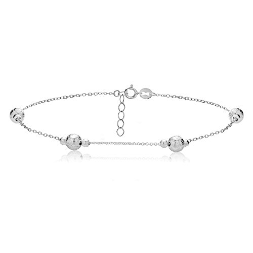 hoops-loops-sterling-silver-textured-and-polished-round-beads-chain-anklet