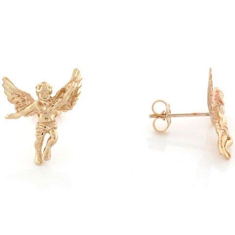 14k Yellow Gold Lovely Christian Religious angel 1.7cm Pin Earrings