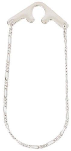 Made In USA Tie Clasp Men's Silver Tone Figaro Chain Button Hole