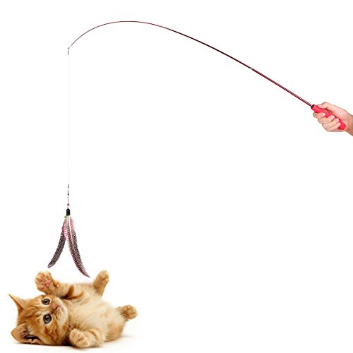 Onever teaser cat catcher retractable fishing pole wand for Cat fishing pole