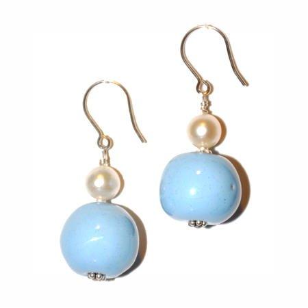 Kazuri Earrings - Robin's Egg Blue, Freshwater Pearl and .925 Sterling Silver