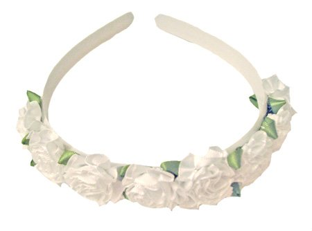 This white rose headband coordinates with many of our dresses including our