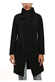 Zeagoo Women Winter Fashion Asymmetrical Long Wool Trench Coat Zip Up Jacket