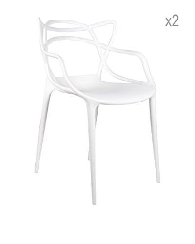 Lo+deModa Set De 2 Sillas Courve En Polipropileno Para Interior / Exterior Blanco