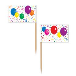 Balloons & Confetti Picks Party Accessory (1 Count) (50/Pkg) front-963683