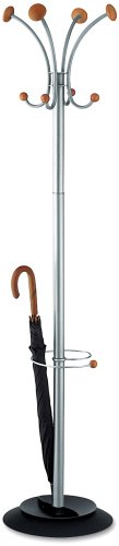 Alba Stily Hat and Coat Stand Tubular Steel with Umbrella Holder 4 Hooks 4 Pegs H1770mm Ref PMVIENA