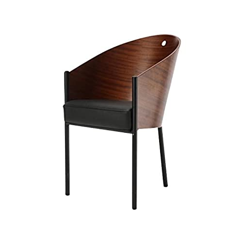 Costes Armchair mahagony/wood/frame black/leather seatcushion