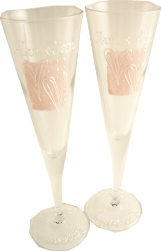 PERSONALISED Happy Anniversary Gift Champagne Flutes (nude/pearl). Maximum 25 Characters Per Glass