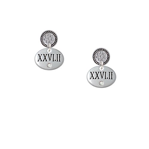 Marathon With Clear Crystal Roman Numeral - Silver Tone Lulu Disc Earrings