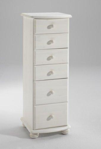 Schubkastenkommode Kommode Kiefer massiv, Farbe:Weiß