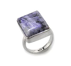 Genuine Purple Russian Charoite Sterling Silver Ring Size 8(Sizes 5,6,7,8,9)