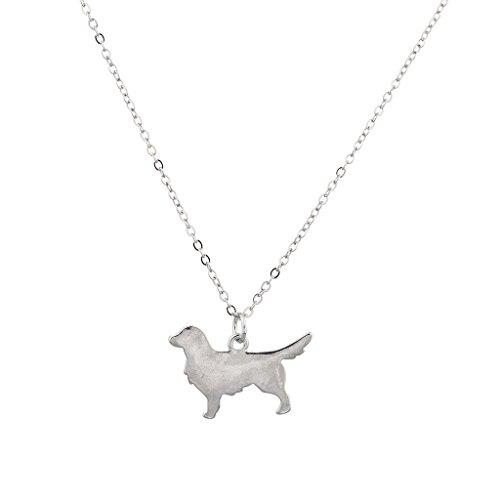 Lux accessori Silvertone collana con ciondolo a forma di cane Golden Retriever