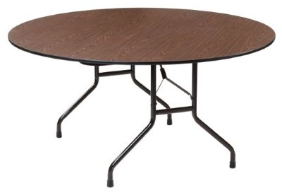 Royal Industries CORBT60R Folding Round Banquet Table, 60-in Diam., Walnut Finish, Each