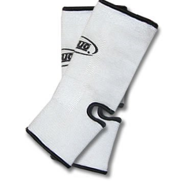 L WHITE DUO Muay Thai Kickboxing Ankle Support Anklets