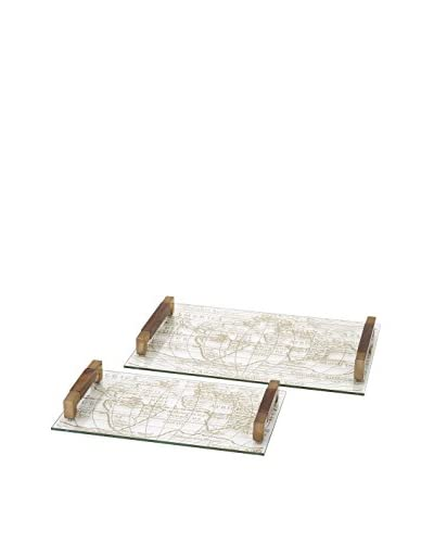 Beth Kushnick Set of 2 Glass Trays
