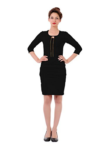 JAMES-SCOT-Women-U-Neck-34th-Sleeves-Solid-Black-Colour-Bodycon-Dress