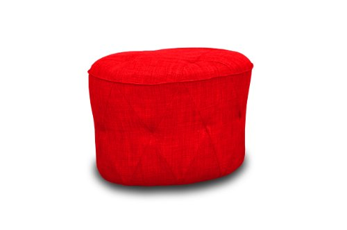 International Design USA Luxe Tufted Ottoman, Red - 1