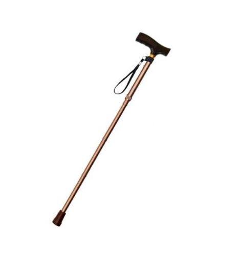 [Smile You] 折りたたみ式 杖(ステッキ) 長さ5段階調整 木製グリップ 【ブラウン】 アルミ 軽量 《収納袋付き》