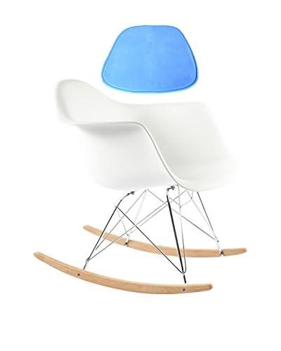 Stilnovo Rocking Arm Chair with Pad, White/Blue