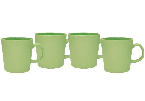 Culver 16-Ounce Mellow Ceramic Mug, Lime Green, Set of 4