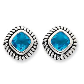 Sterling Silver Antiqued Blue Glass Post Earrings