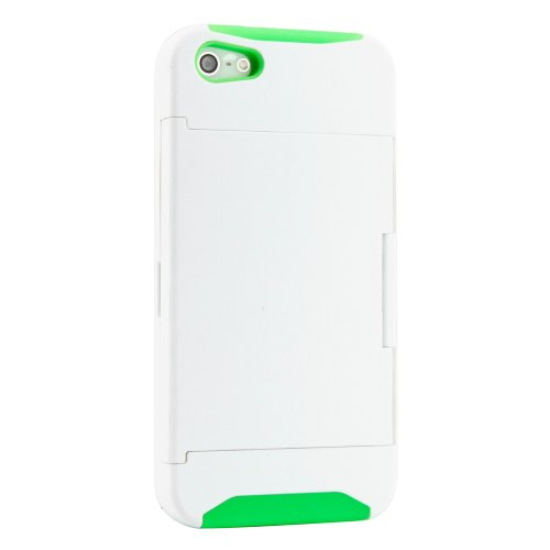 Gearonic 2 Piece Hybrid Hard Pc Soft Silicone Back Cover Case Card Holder Stand For Iphone 5/5S - Non-Retail Packaging - Green