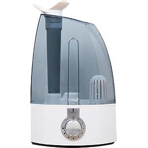 超音波加湿器 uruoi+(うるおいプラス) クリアタイプ 【大容量4L/連続加湿最大(約)8時間】噴出角度360度変更可能 2つに分かれるノズル搭載 (卓上加湿器、乾燥対策、水浄化カートリッジ付属)