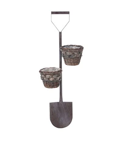 Skalny Shovel Planter With Baskets, Brown