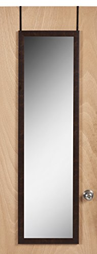 high quality over the door mirror 50 x 14 full length easy to hang brown finish home garden. Black Bedroom Furniture Sets. Home Design Ideas